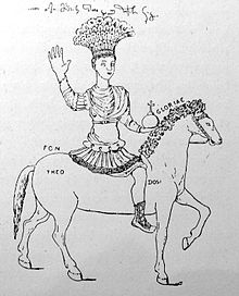 Drawing of Justinian I's statue