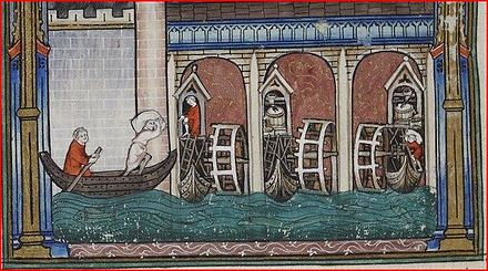 Medieval illustration of a ship mill