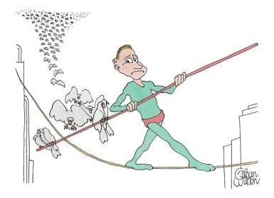 Tightrope walker drawing