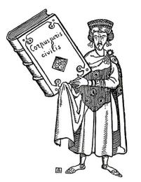 Cartoon of Justinian I and his code of laws