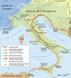 Map of Justinian I's wars in Italy