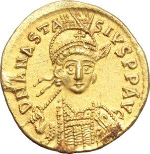 Byzantine gold solidus of Anastasius I