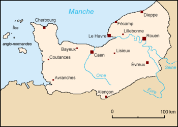 Map of Normandy, France