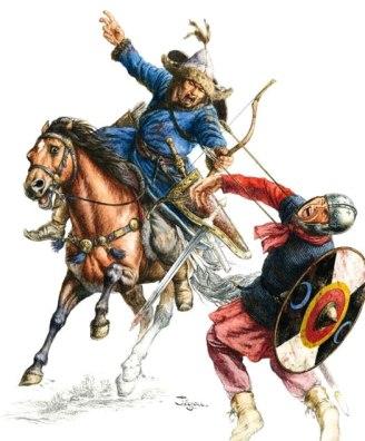 Hun kills a Byzantine soldier