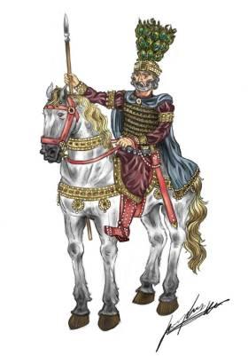 Basil II the Bulgar Slayer (r. 976-1025) on his horse