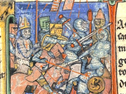 A Latin bishop fighting in battle