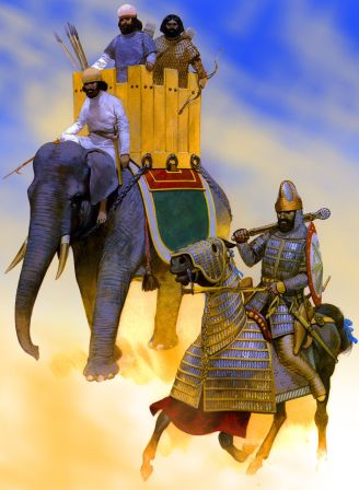 Sassanid Persian armoured cavalry and war elephant