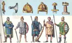 Frankish warriors, weapons, and helmets