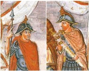 Fresco of Frankish warriors