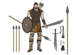 Catalan Almogavar mercenary unit with his weapons, 14th century
