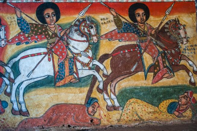 Ancient christian wall paintings in an Ethiopian Church, Lake Tana