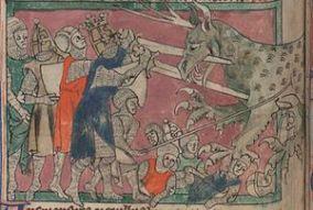 "Macedonians kill the ""Tooth-Tyrant"", medieval illustration"