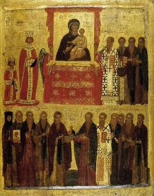 Restoration of icons, Empress Theodora and the young Michael III on the upper-left
