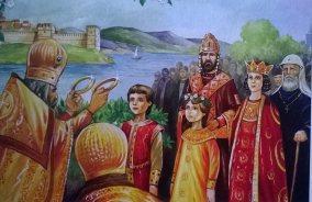 Marriage of the young Theodore II and Elena Asenina with John III and Irene Laskarina behind