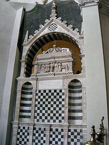 Black and white checkered altar in the Basilica of San Domenico, Bologna