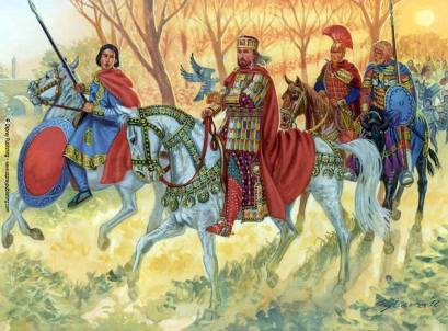 Emperor John I Tzimiskes leads his soldiers in battle