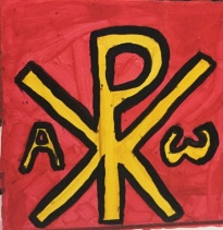 Western Roman Empire flag (Chi-Rho and Alpha/Omega symbols in red background)