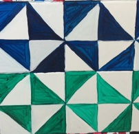 Green and blue right triangle patterns