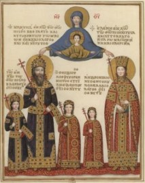 Manuel II Palaiologos and his wife Helena Dragaš with their children including John VIII (left), Byzantine eagles on the robes of the 2 children Theodore and Andronikos (centre)