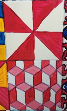 Red and white right triangle patterns and red, pink, and white quadrilateral tessellations