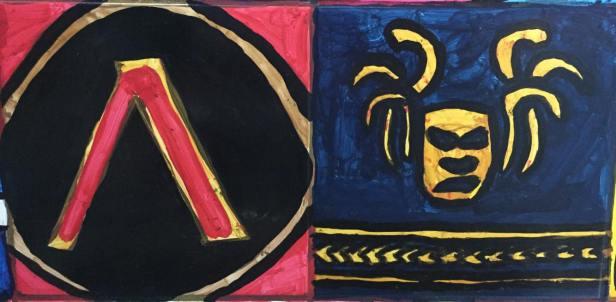 Spartan Hoplite shield symbol (left) and Cult of Kosmos symbol (right)