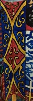 Medieval red and blue corner tile patterns