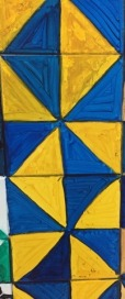 Blue and yellow right triangle patterns