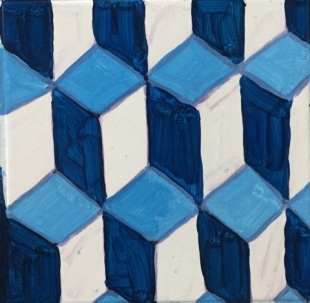 Dark blue, light blue, and white quadrilateral tessellations