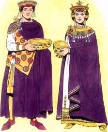Emperor Justinian I and Empress Theodora in purple robes