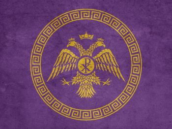 Byzantine (Eastern Roman) flag with the Chi-Rho