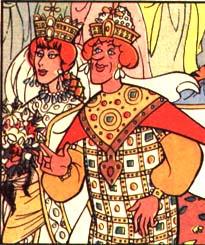 Cartoon of Andronikos II and Irene of Montferrat