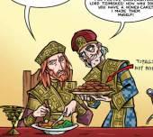 Cartoon of Basil Lekapenos (right) and John I Tzimiskes (left)