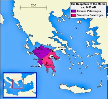 Map of the Despotate of Morea in 1450 divided between Demetrios and Thomas Palaiologos