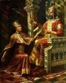 Ivan III Asen of Bulgaria and his wife Irene Palaiologina, daughter of Michael VIII