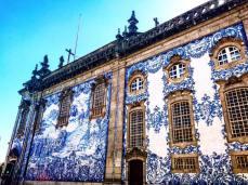 Azulejo covered church walls in Porto, Portugal