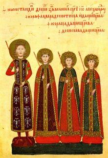 Konstantin Dejanović Dragaš of Serbia, and his family including daughter Helena Dragaš