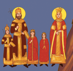 Clear image of Manuel II's family, left to right: the young John VIII, Manuel II, Theodore, Andronikos, and Helena Dragas