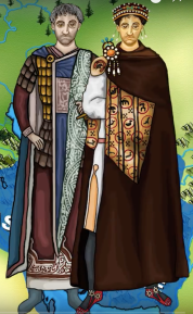Emperor Justin I (r. 518-527, left) and his nephew Justinian I (right)