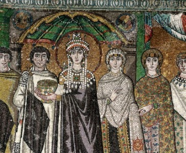 Empress Theodora mosaic in Ravenna, her sister Comito or daughter Theodora may be one of the ladies on the right