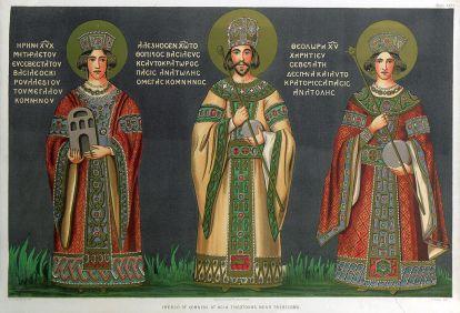 Trebizond emperor Alexios III Megas Komnenos (r. 1349-1390, center) with his mother Irene Palaiologina (left) and wife Theodora (right)