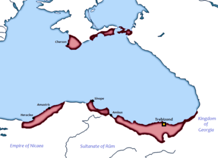 Map of the Empire of Trebizond, founded in 1204