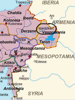 Location of the Manzikert Theme in Eastern Asia Minor (encircled in black)