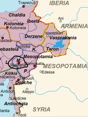 Location of Melitene in Eastern Asia Minor