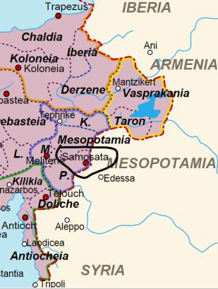 Location of Samosata in Eastern Asia Minor