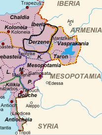 Location of the Derzene in Theme in Eastern Asia Minor