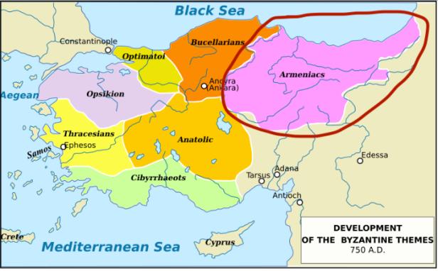 Location of the Armeniac Theme in Asia Minor