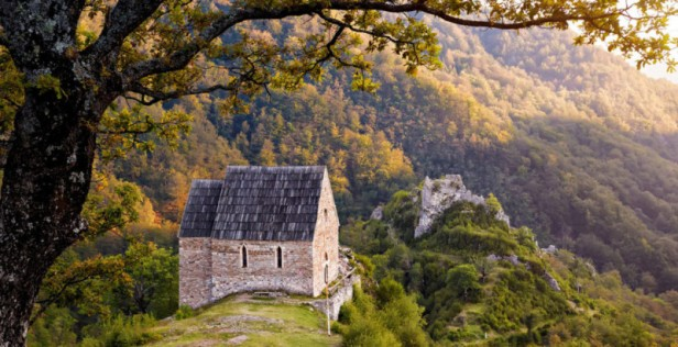 Bosnian countryside with the remains of medieval Bobovac