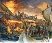 Greek Fire fired from Byzantine ships