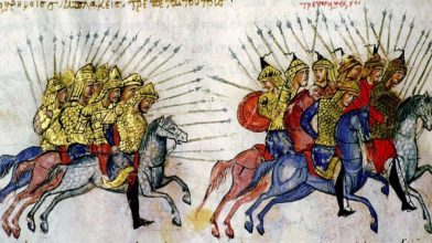 Byzantine Cataphracts chase away Bulgarians, Madrid Skylitzes