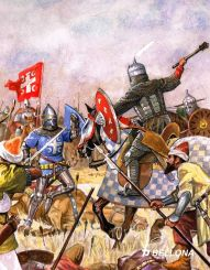 Serbian knights against Ottomans in the Battle of Kosovo, 1389